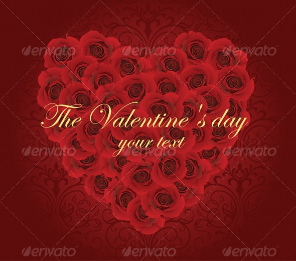 Romantic Card With Red Roses  - Valentines Seasons/Holidays