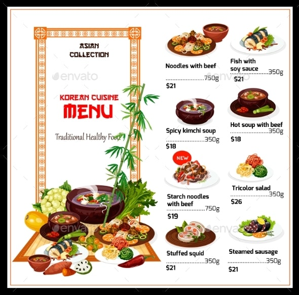 Korean Cuisine Menu, National Food - Food Objects