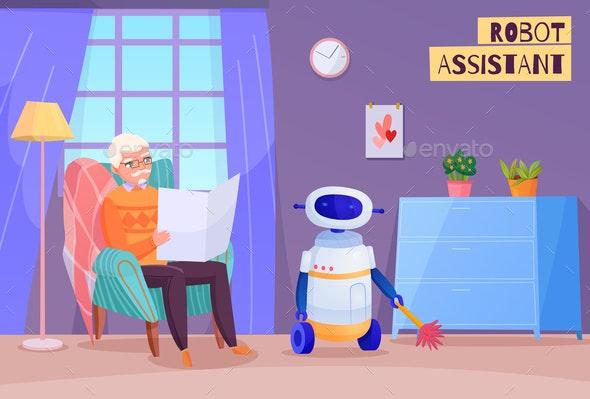 Elderly Man Robot Helper Illustration - People Characters
