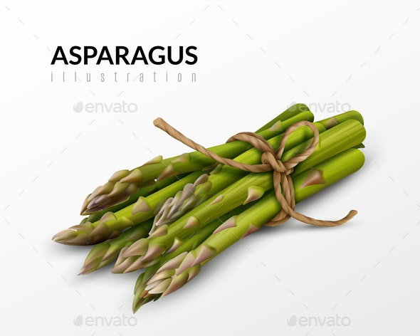 Asparagus Bunch Realistic Image - Food Objects