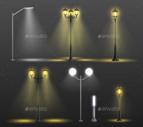 Street Lights Realistic Composition Set - Miscellaneous Vectors