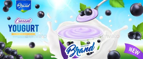 Realistic Yogurt Ads Poster - Food Objects