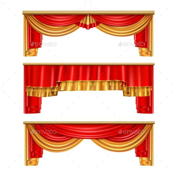 Luxury Curtains Realistic Composition - Miscellaneous Vectors