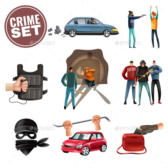 Crime Violence Aggression Icons Set - Miscellaneous Vectors