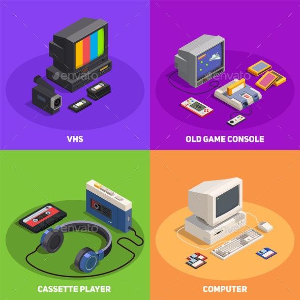 Retro Gadgets 2x2 Isometric Concept - Computers Technology