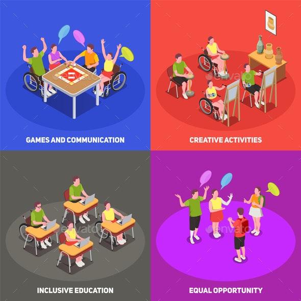 Inclusive Education 2x2 Set - Business Conceptual