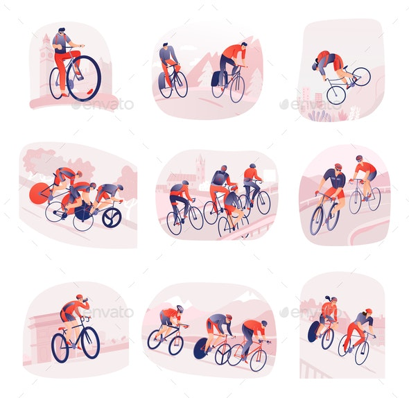 Cycling Tour Set Of Compositions - People Characters