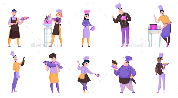 Cooks Cartoon Set - People Characters