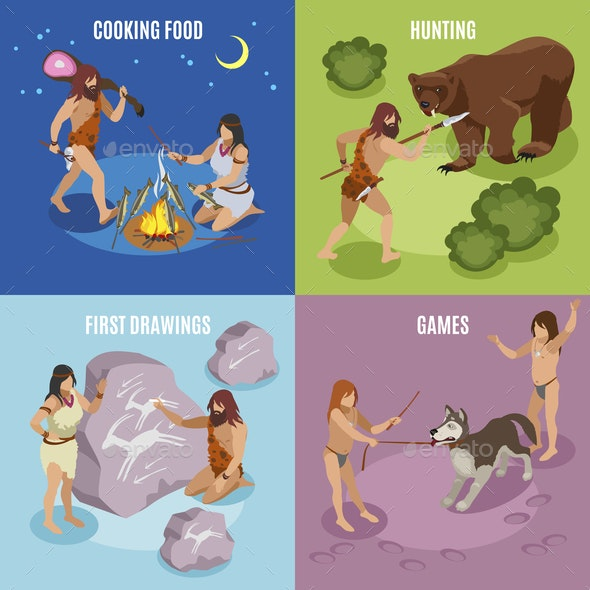 Stone Age Concept Icons Set - Food Objects