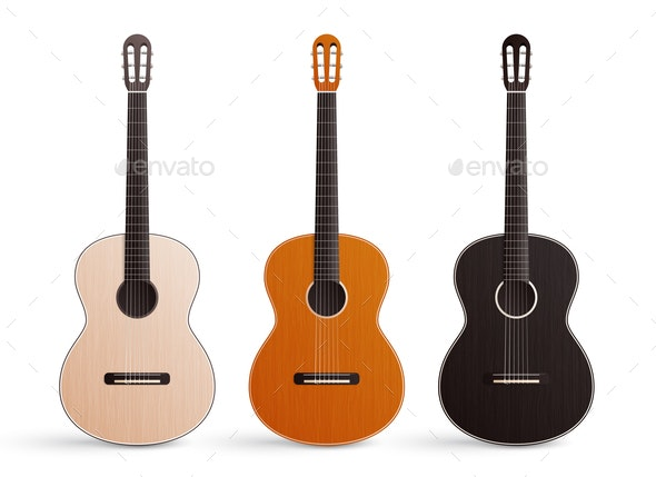 Classic Guitar Realistic Set - Miscellaneous Vectors