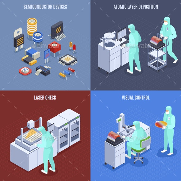 Semicondoctor Production Concept Icons Set - Business Conceptual