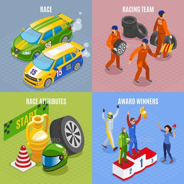 Racing Sports Concept Icons Set - Sports/Activity Conceptual