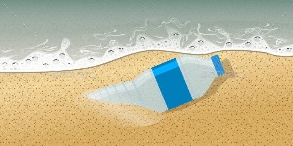 Plastic Bottle on Seashore No Plastic - Miscellaneous Vectors