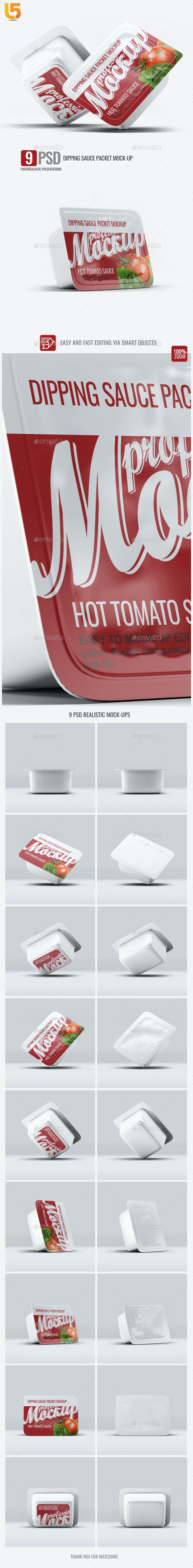 Dipping Sauce Packet Mock-Up - Food and Drink Packaging