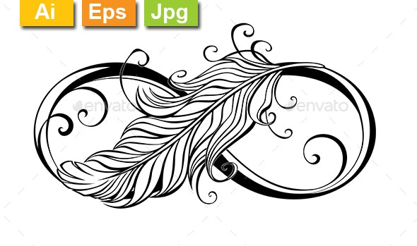 Infinity Symbol with Feather - Tattoos Vectors