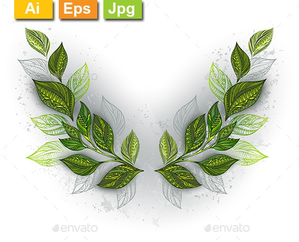 Symmetrical Pattern with Tea Leaves - Flourishes / Swirls Decorative