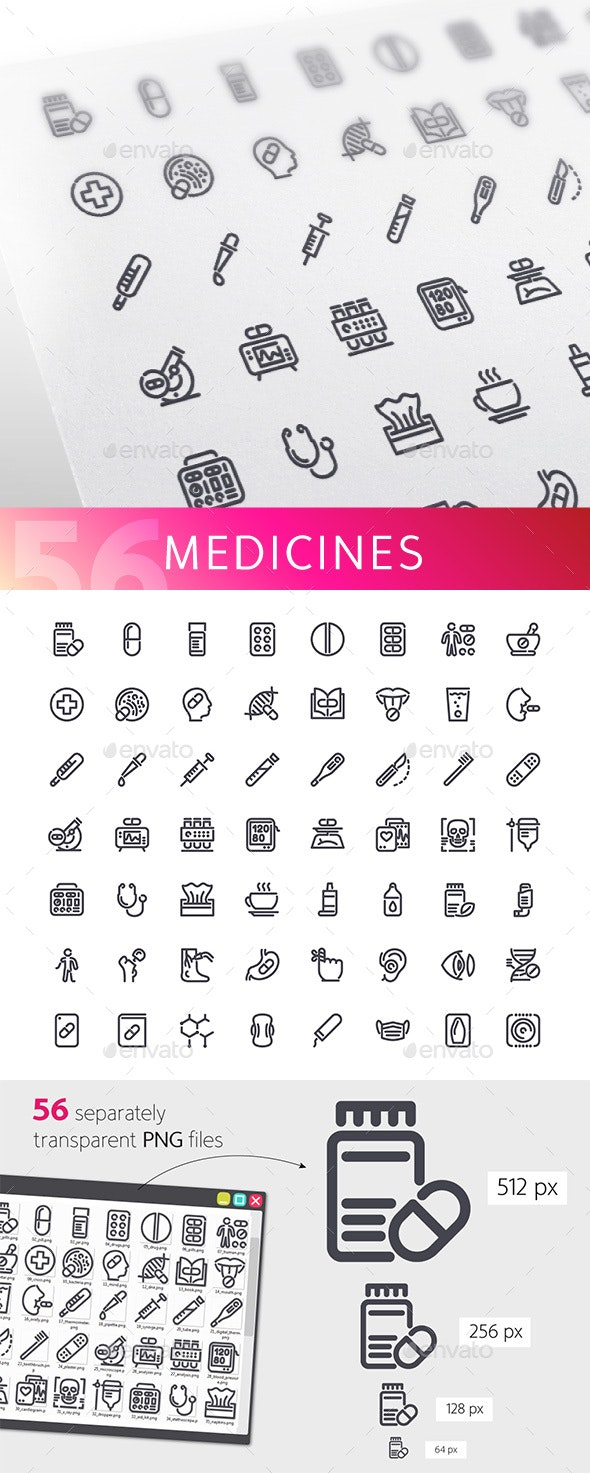 Medicines Line Icons Set - Objects Icons