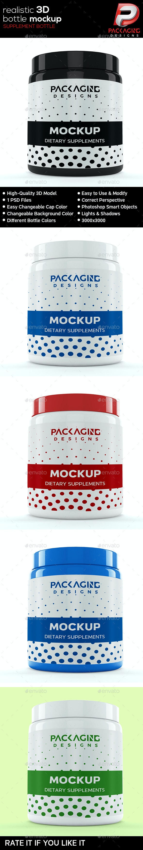 Realistic 3D Supplement Bottle Mock-Up-6 - Packaging Product Mock-Ups