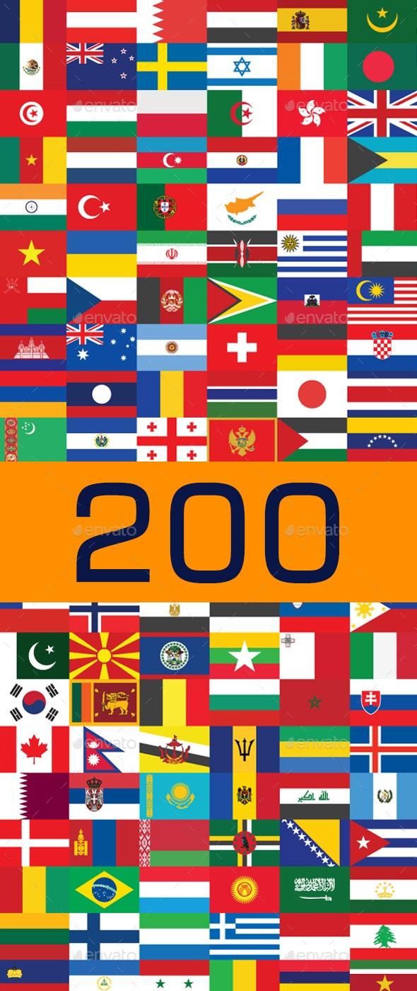 200 Country Flag Vectors - Objects Vectors