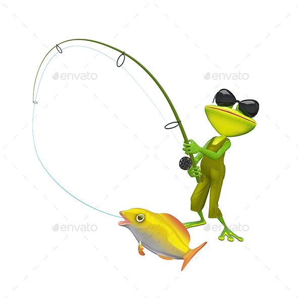 3D Illustration of a Fisherman Frog - Characters 3D Renders