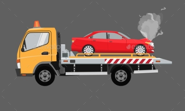 Yellow Tow Truck with Sedan Car - Man-made Objects Objects