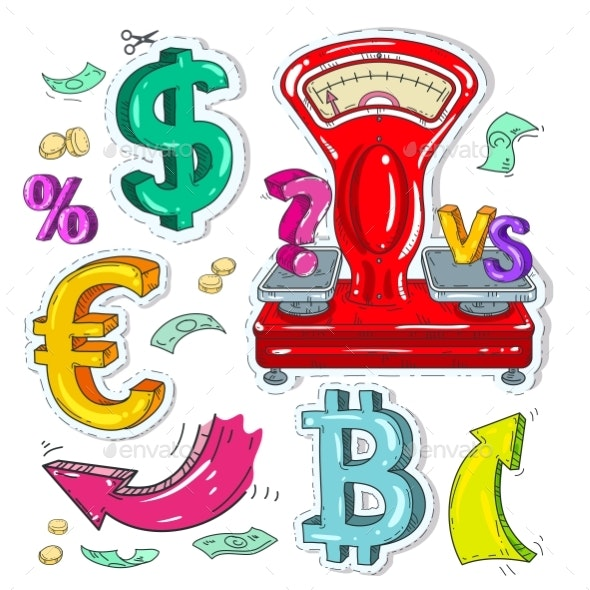 Colorful Sticker Scales, Money Signs and Arrow - Miscellaneous Vectors