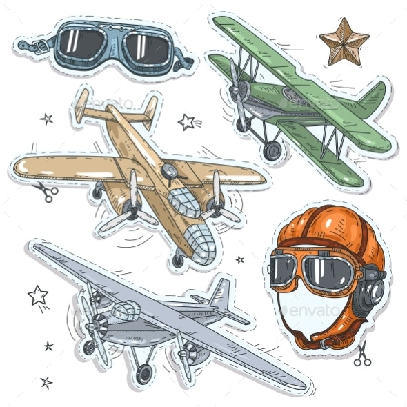 Colorful Sticker, Set Retro Old Aircraft, Pilot - Man-made Objects Objects