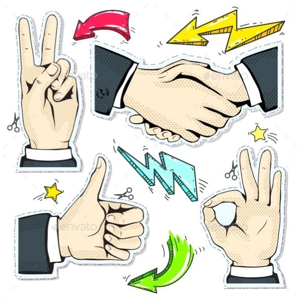 Set Colorful Icons Hand, Handshake, Like, Star - Miscellaneous Vectors