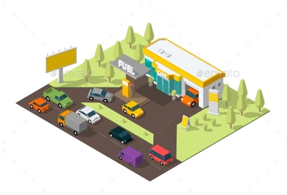 Gas Station - Man-made Objects Objects