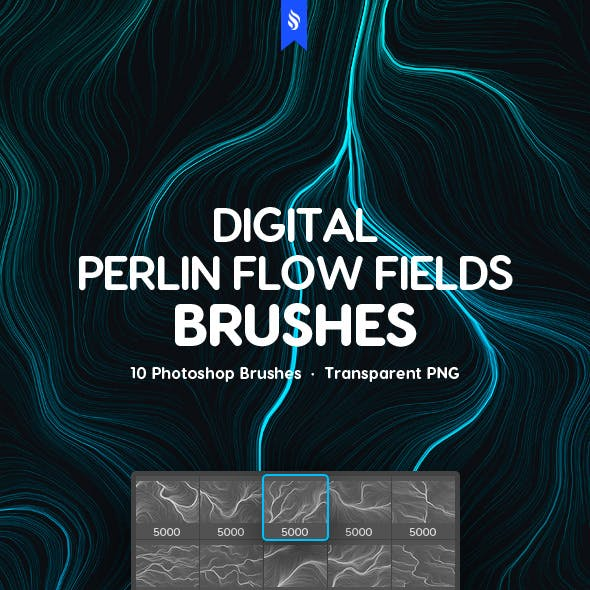 Digital Perlin Flow Fields Photoshop Brushes in a Tech Futuristic Style