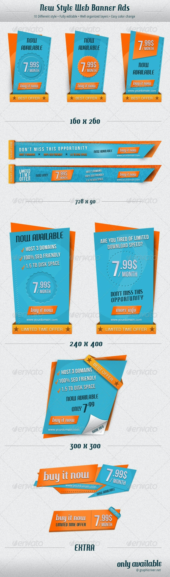 New Style Web Banner Ads - Banners & Ads Web Elements