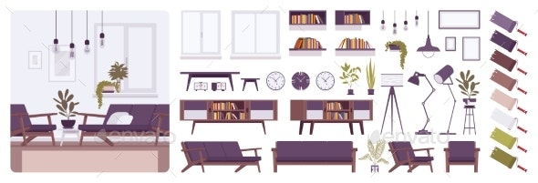 Living Room Modern Interior Home or Office - Man-made Objects Objects