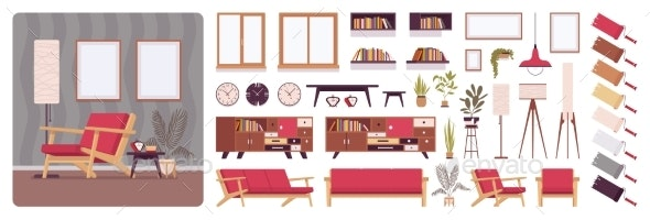 Living Room Full Home Interior Design - Man-made Objects Objects