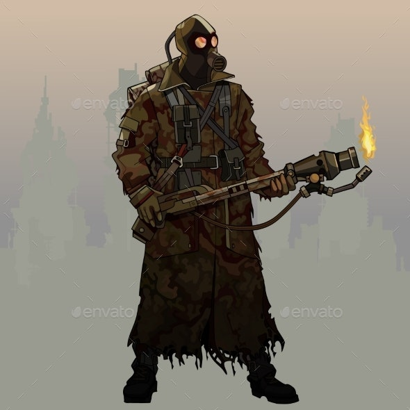 Cartoon Armed Man in Gas Mask and Post Apocalypse - People Characters