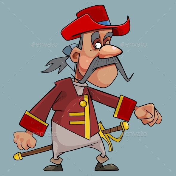 Cartoon Mustache Man in Hat with Sword - People Characters