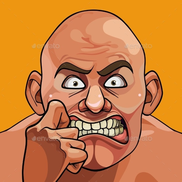 Face of a Cartoon Bald Man Very Frightened - People Characters