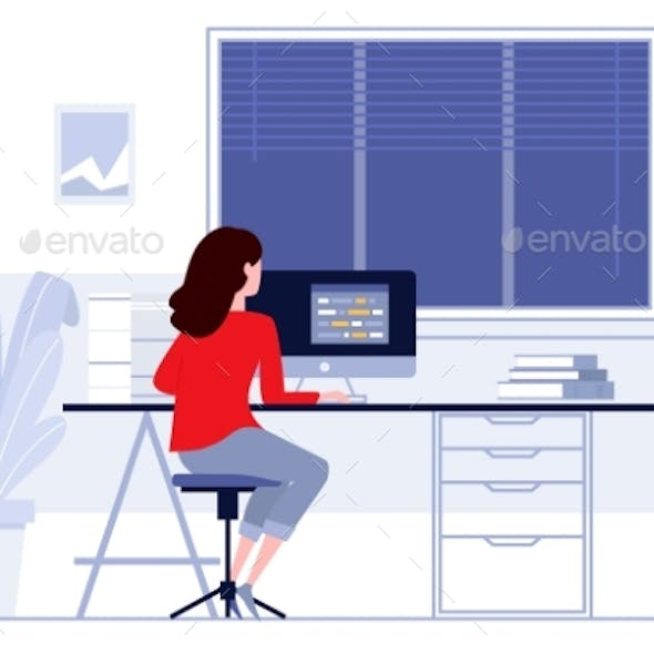 Workplace in Office Business Woman Working