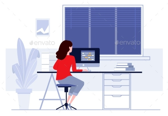 Workplace in Office Business Woman Working - Miscellaneous Vectors