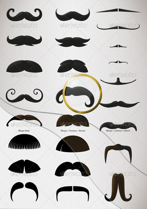 25 Mustache Illustration - Objects Illustrations