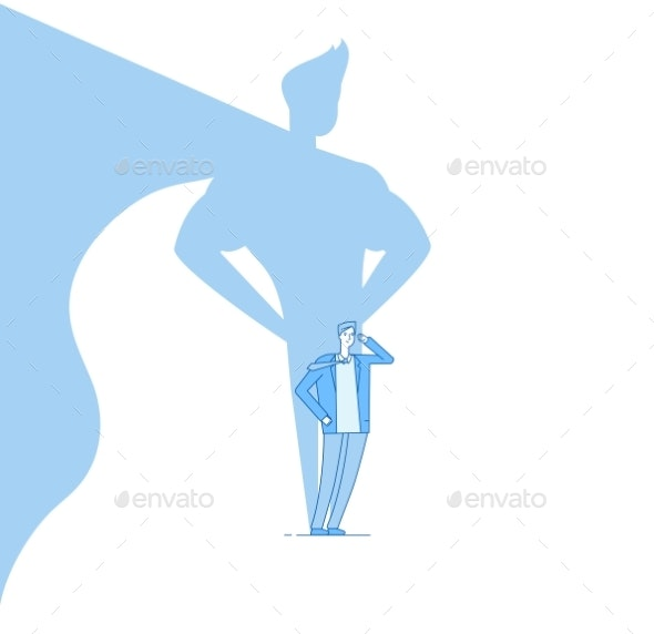 Businessman with Superhero Shadow - People Characters