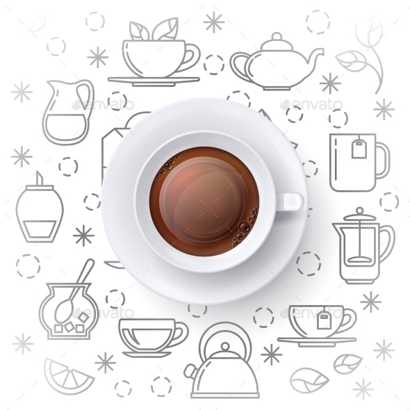 Tea Time Vector Concept with Realistic Top View - Backgrounds Decorative