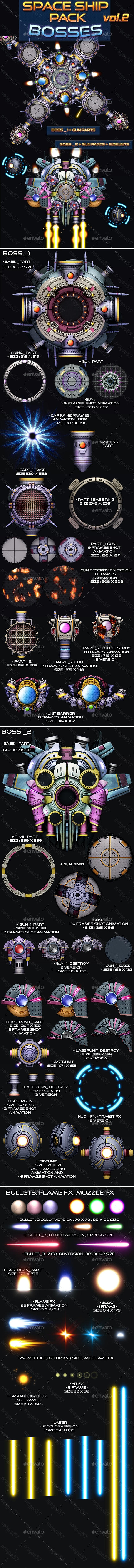 Space Ship Pack Bosses Vol 2 - Sprites Game Assets