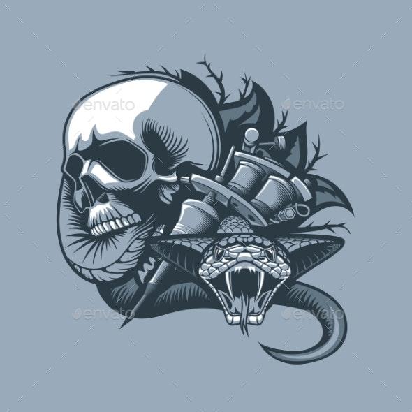 Skull with Viper - Tattoos Vectors
