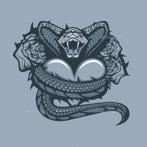 Viper Enveloping Heart on Roses Background - Tattoos Vectors
