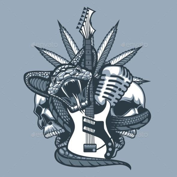 Viper Enveloping the Guitar - Tattoos Vectors