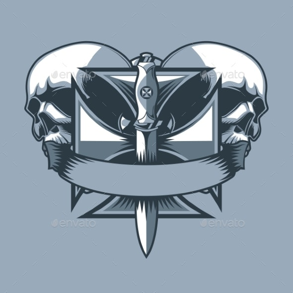 Military Dirk on a Knight Cross - Miscellaneous Vectors