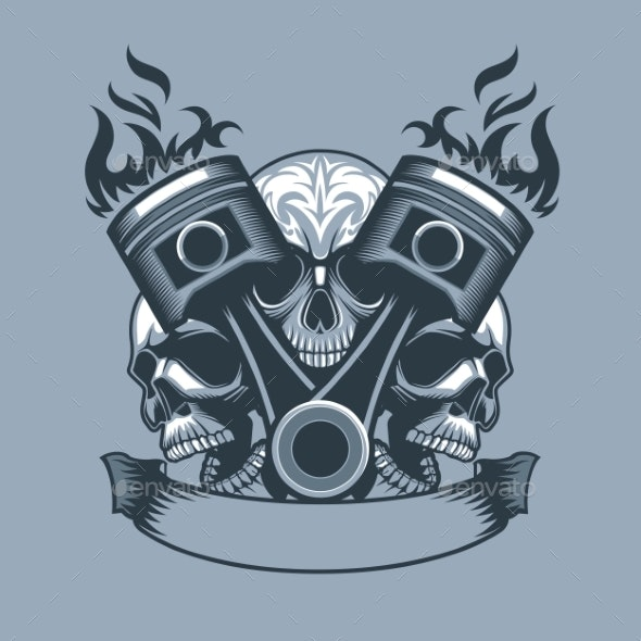 Two Burning Pistons on Three Skulls Background - Abstract Conceptual