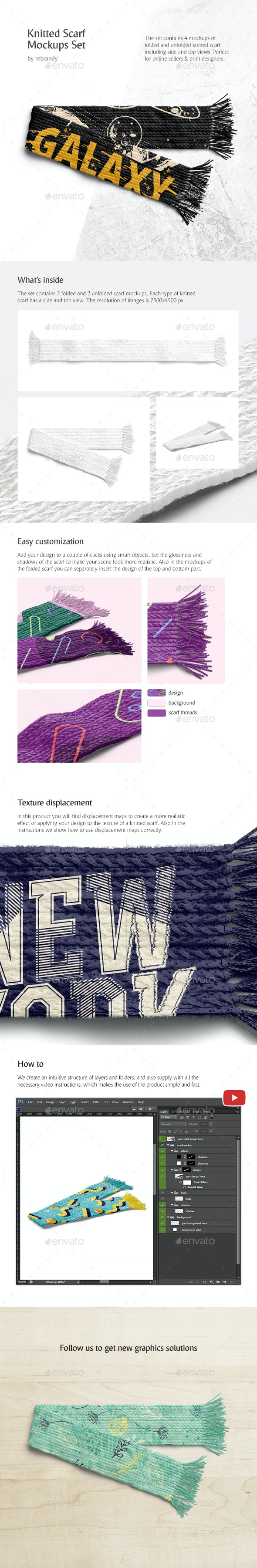 Knitted Scarf Mockups Set - Product Mock-Ups Graphics