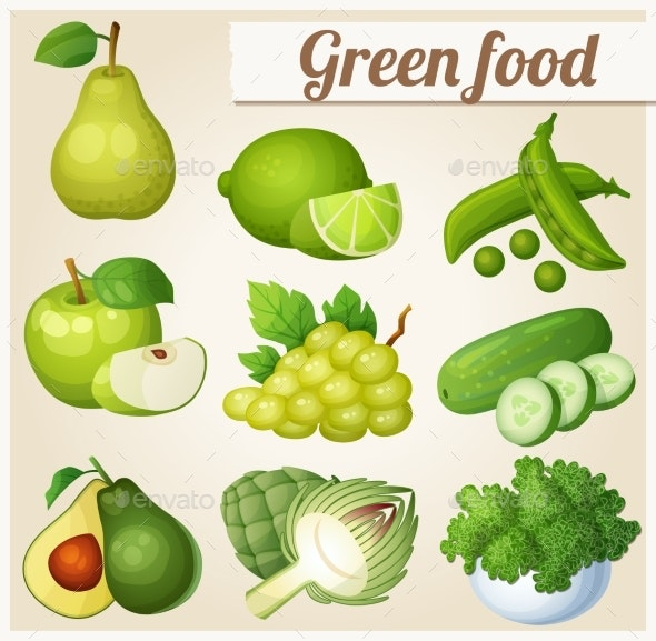 Set of Cartoon Green Food Icons - Food Objects