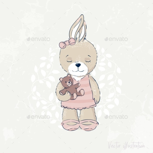 Rabbit Illustration - Flowers & Plants Nature